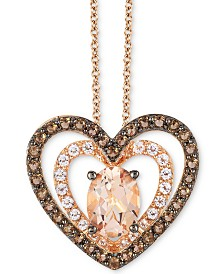 "Le Vian® Multi-Gemstone Double Heart 18"" Pendant Necklace (1-5/8 ct. t.w.) in 14k Rose Gold"