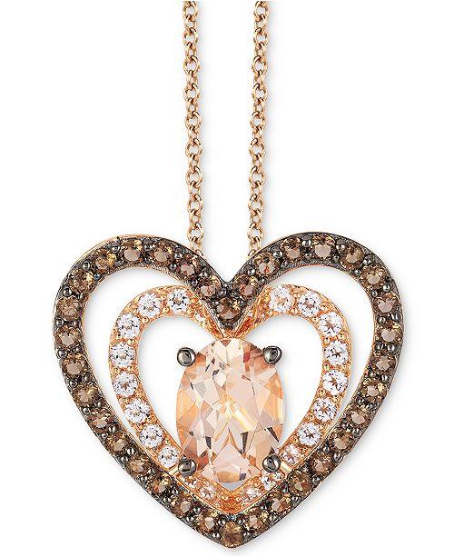 "Le Vian Multi-Gemstone Double Heart 18"" Pendant Necklace (1-5/8 ct. t.w.) in 14k Rose Gold"