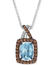 "Sea Blue Aquamarine (1-1/6 ct. t.w.) & Diamond (1/3 ct. t.w.) 18"" Pendant Necklace in 14k White Gold"