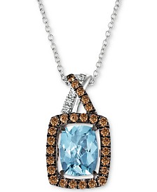 "Le Vian® Sea Blue Aquamarine (1-1/6 ct. t.w.) & Diamond (1/3 ct. t.w.) 18"" Pendant Necklace in 14k White Gold"