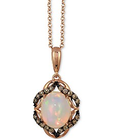 "Le Vian® Neopolitan Opal® (1-1/5 ct. t.w.) & Chocolate Diamond (1/5 ct. t.w.) 18"" Pendant Necklace in 14k Rose Gold"