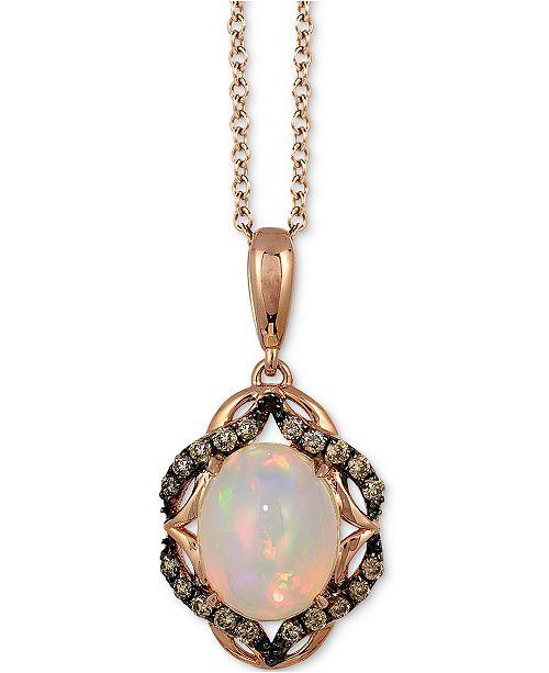 "Le Vian Neopolitan Opal® (1-1/5 ct. t.w.) & Chocolate Diamond (1/5 ct. t.w.) 18"" Pendant Necklace in 14k Rose Gold"
