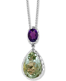 "EFFY® Green Quartz (7-1/6 ct. t.w) & Purple Amethyst (1-1/10 ct. t.w.) Double Drop 18"" Pendant Necklace in Sterling Silver"