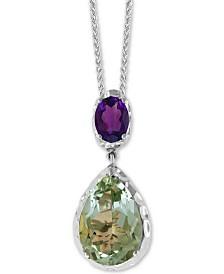 "EFFY® Green Quartz (7-1/6 ct. t.w) & Purple Amethyst (1-1/10 ct. t.w.) Double Drop 18"" Pendant Necklace in Sterling Silver"