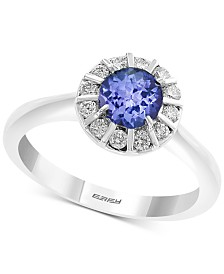 EFFY® Tanzanite (5/8 ct. t.w.) & Diamond (1/4 ct. t.w.) Ring in 14k White Gold
