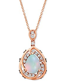 "Neopolitan Opal (1 ct. t.w.) & Diamond (1/2 ct. t.w.) 20"" Pendant Necklace in 14k Rose Gold"