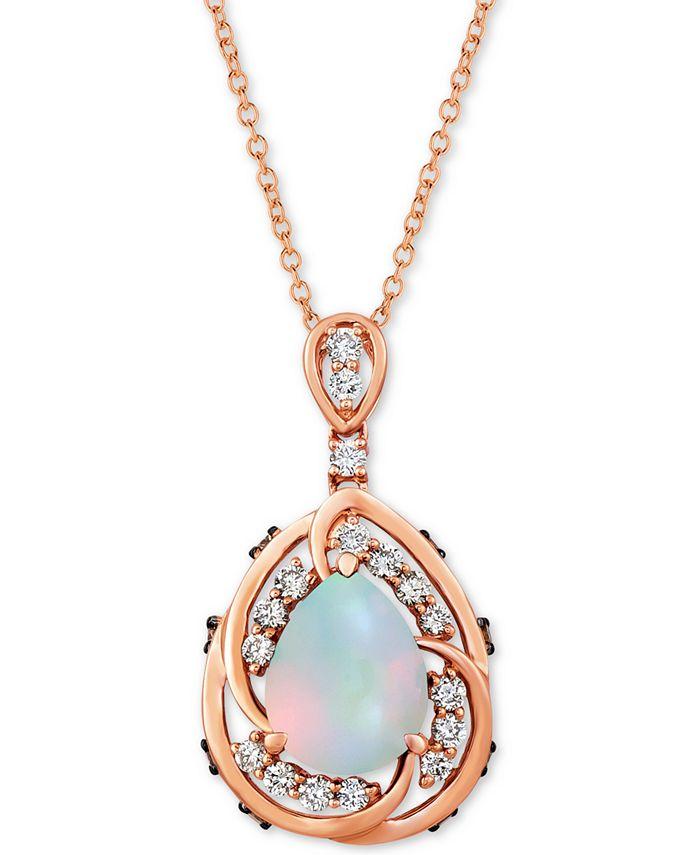 "Le Vian - Neopolitan Opal (1 ct. t.w.) & Diamond (1/2 ct. t.w.) 20"" Pendant Necklace in 14k Rose Gold"