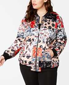 Calvin Klein Performance Plus Size Printed Bomber Jacket