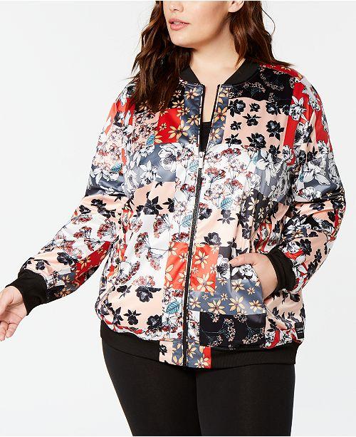 Calvin Klein Plus Size Printed Bomber Jacket