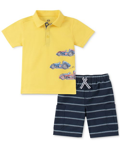 Kids Headquarters Toddler Boys Race Car-Print Polo & Stripe Oxford Shorts