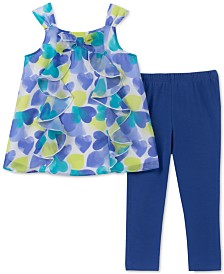 Kids Headquarters Little Girls 2-Pc. Ruffle Heart Tunic & Leggings Set