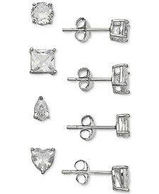 Giani Bernini 4-Pc. Set Cubic Zirconia Varied Shape Stud Earrings in Sterling Silver, Created for Macy's