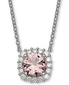 """Cubic Zirconia Halo 18"""" Pendant Necklace in Sterling Silver"""
