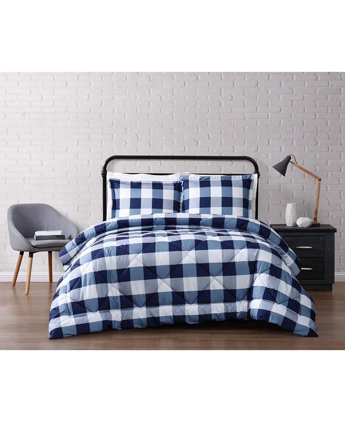 Truly Soft - Everyday Buffalo Plaid Navy Full / Queen Comforter Set
