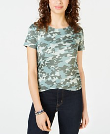 Self Esteem Juniors' Camo Printed Ruched Faux-Wrap T-Shirt