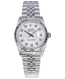 Women's Midsize Swiss Automatic Datejust Jubliee Diamond 18K White Gold & Stainless Steel Bracelet Watch, 31mm
