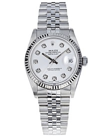 Pre-Owned Rolex Women's Midsize Swiss Automatic Datejust Jubliee Diamond 18K White Gold & Stainless Steel Bracelet Watch, 31mm