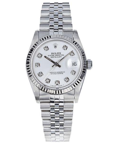 Pre-Owned Rolex Women's Midsize Swiss Automatic Datejust Jubliee Diamond 18K White Gold & Stainless Steel Bracelet Watch, 31mm