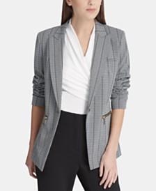 DKNY Striped Zip-Pocket Blazer