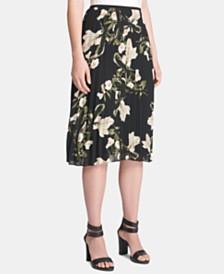 DKNY Petite Floral-Print Pleated Midi Skirt