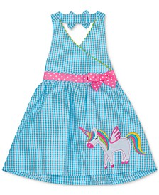 Rare Editions Baby Girls Unicorn Gingham Seersucker Dress