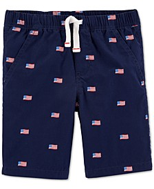 Little Boys Red, White & Blue Cotton Shorts