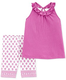 Carter's Little & Big Girls 2-Pc. Ruffled Top & Printed Shorts Set
