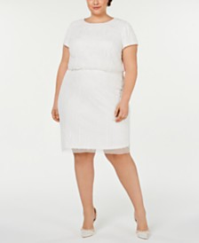 Adrianna Papell Plus Size Cap-Sleeve Blouson Dress
