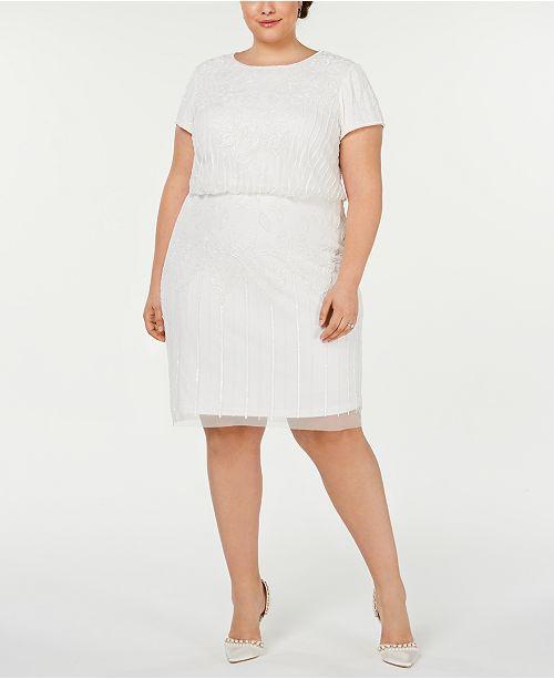 Plus Size Cap-Sleeve Blouson Dress