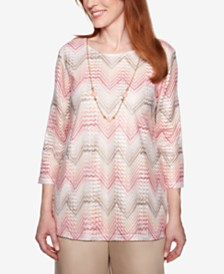 Alfred Dunner Society Pages Zigzag-Striped Top