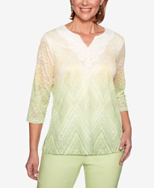 Alfred Dunner Endless Weekend Textured Lace-Neck Top