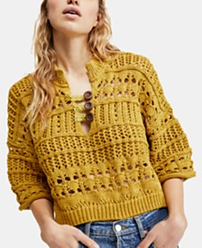 Free People Dreams Tonight Macramé Sweater