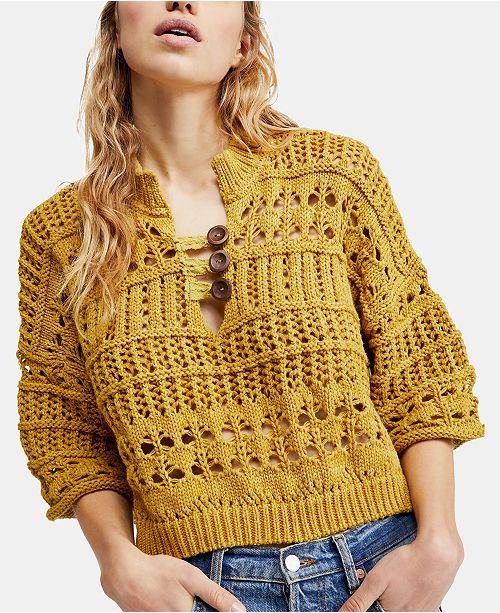Free People Dreams Tonight Macramé Sweater