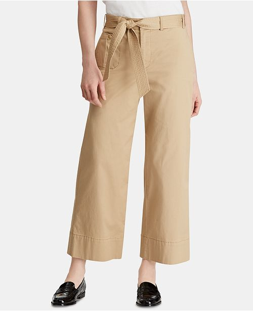 1129d449b Lauren Ralph Lauren Wide-Leg Twill Paperbag Pants & Reviews ...