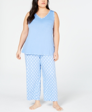 Charter Club Plus Tank and Cropped Pants Pajama Set, Created for Macy's