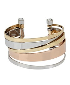 Tri-tone Multi Bar Row Cuff Bracelet