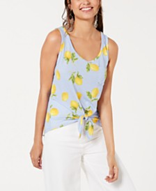 Rebellious One Juniors' Lemon Printed Tie-Front Tank Top