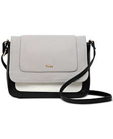 Colorblocked Flapover Leather Crossbody
