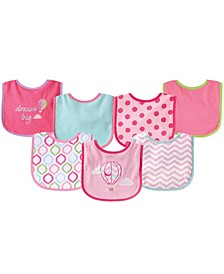 Drooler Bibs with Waterproof Back, 7-Pack, Pink Balloon, One Size