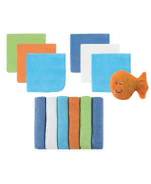 Luvable Friends Washcloths with Toy, 13-Piece Set, Blue and Green, One Size