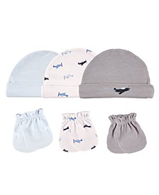 Cap and Scratch Mittens, 6-Piece Set,0-6 Months