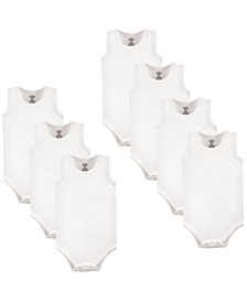Sleeveless Bodysuits, 7-Pack, White, 0-24 Months