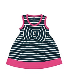 Dress with Waist Bow, Navy and Pink, 0-24 Months