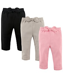 Hudson Baby Baby Waist Bow Pants, 3-Pack, 2T-5T