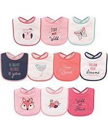 Hudson Baby Drooler Bibs, 10-Pack, Girl Fox, One Size