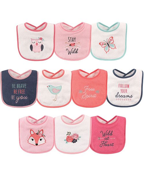 Hudson Baby Drooler Bibs, 10-Pack, Girl Fox, One Size