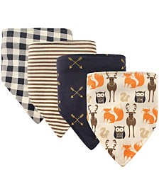 Hudson Baby Bandana Bibs, 4-Pack, One Size