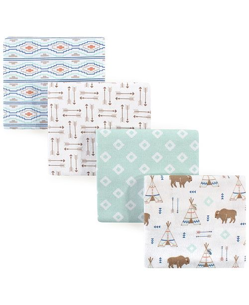Hudson Baby Flannel Receiving Blankets 4-Pack, One Size