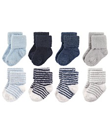 Hudson Baby Chenille Socks, 8-Pack, Boy Stripe, 0-24 Months