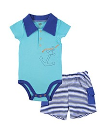 Hudson Baby Bodysuits and Cargo Shorts, 0-18 Months